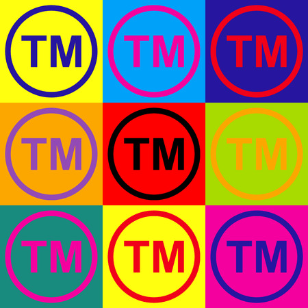 trade mark: Trade mark sign. Pop-art style colorful icons set. Illustration