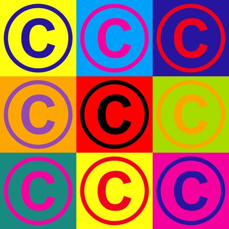 Copyright ondertekenen. Pop-art stijl kleurrijke iconen set. Vector Illustratie