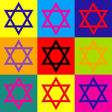 Star. Shield Magen David. Symbol of Israel. Pop-art style colorful icons set. Vectores