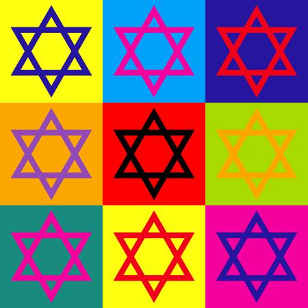 Star. Shield Magen David. Symbol of Israel. Pop-art style colorful icons set. Stock Illustratie