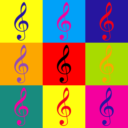 gclef: Music violin clef sign. G-clef. Treble clef. Pop-art style colorful icons set. Illustration