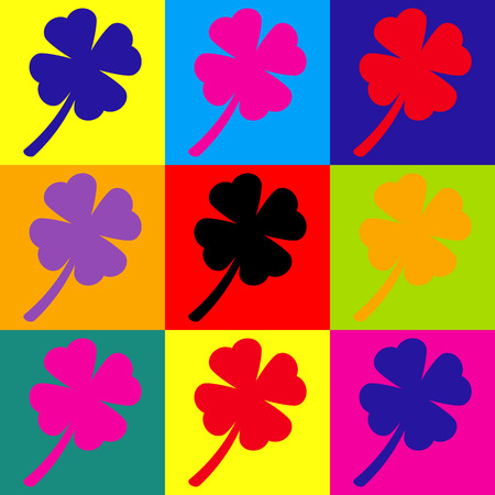 irish culture: Leaf clover sign. Pop-art style colorful icons set.