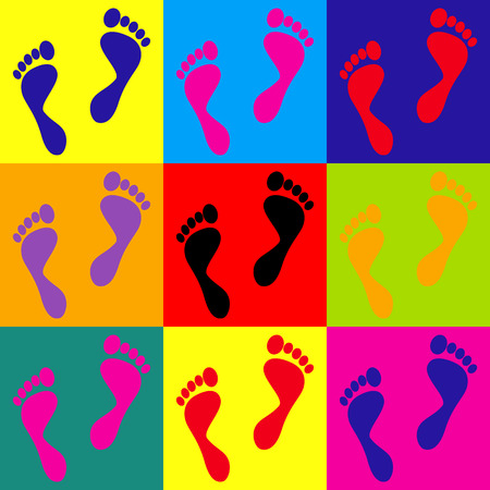 Foot prints sign. Pop-art style colorful icons set.
