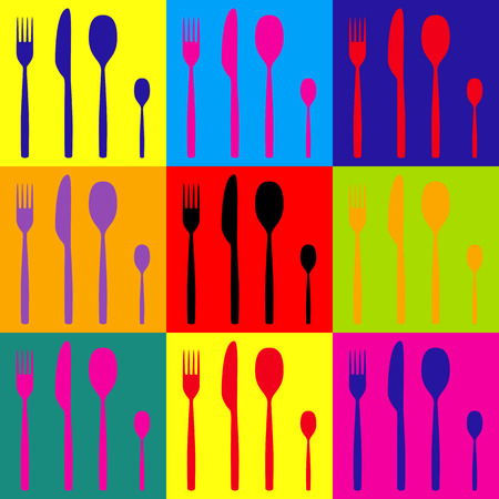 fork and spoon: Fork spoon and knife sign. Pop-art style colorful icons set.