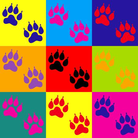 huellas de animales: Pistas animales firman. programar un estilo pop-art iconos de colores.