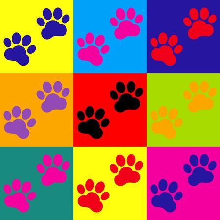 huellas de animales: Animal Tracks sign. Pop-art style colorful icons set. Vectores