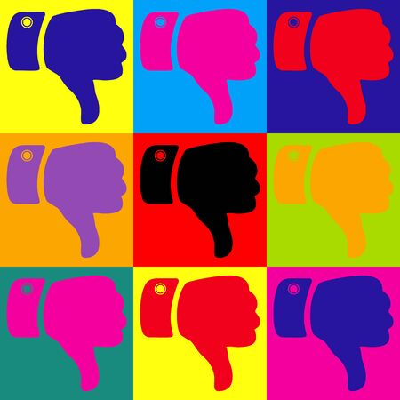 disapprove: Hand sign. Pop-art style colorful icons set.