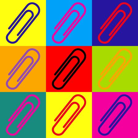 Clip sign. Pop-art style colorful icons set.