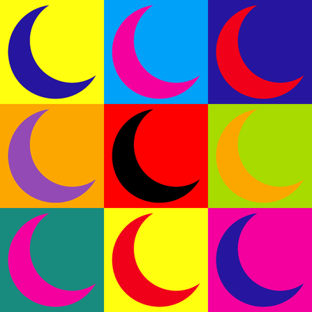 afterglow: Moon sign. Pop-art style colorful icons set.
