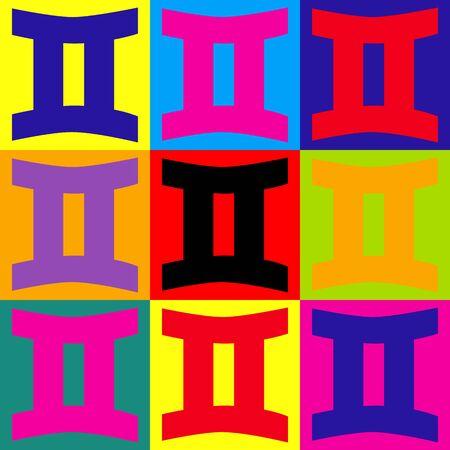 abstract aquarius: Gemini sign. Pop-art style colorful icons set. Illustration