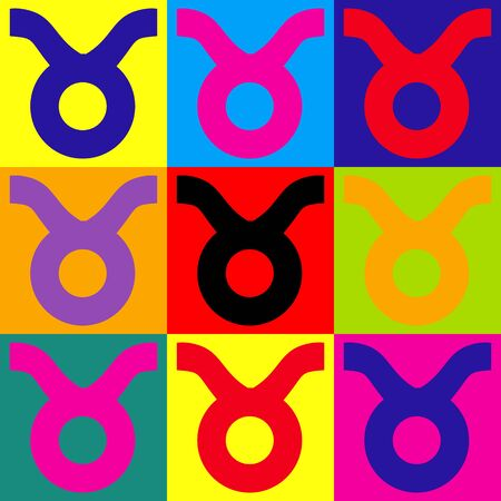 taurus sign: Taurus sign. Pop-art style colorful icons set.