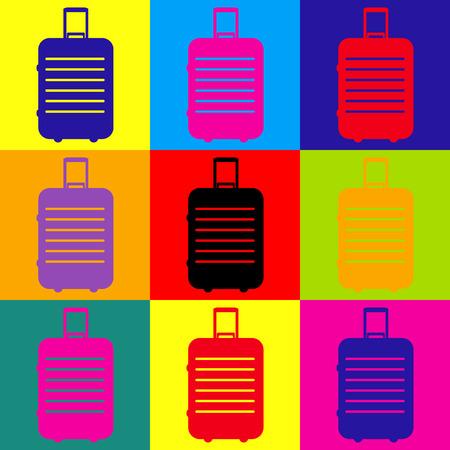 Baggage sign. Pop-art style colorful icons set. Vektoros illusztráció