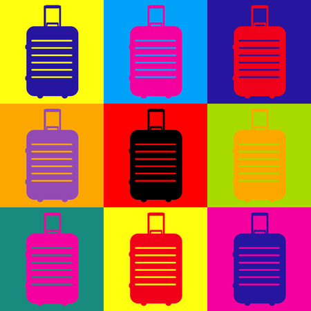 trolley case: Baggage sign. Pop-art style colorful icons set.