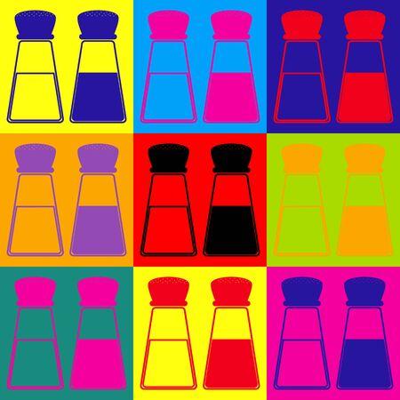 pepper grinder: Salt and pepper sign. Pop-art style colorful icons set. Illustration