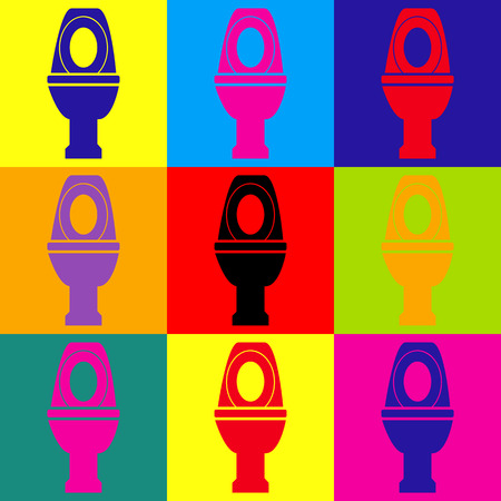 toilet sign: Toilet sign. Pop-art style colorful icons set. Illustration