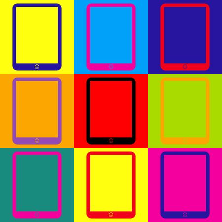 touch sensitive: Computer tablet sign. Pop-art style colorful icons set.