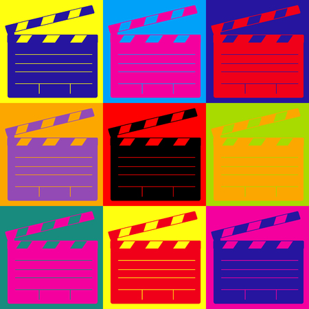 clap board: Film clap board cinema sign. Pop-art style colorful icons set. Illustration