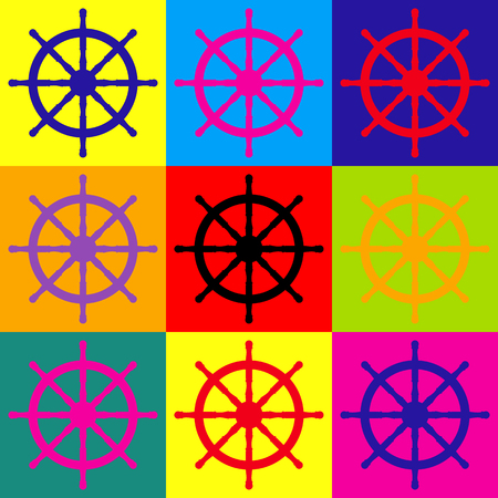 ship wheel: Ship wheel sign. Pop-art style colorful icons set.