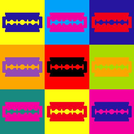razor blade: Razor blade sign. Pop-art style colorful icons set. Illustration