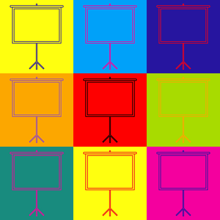 projection: Blank Projection screen. Pop-art style colorful icons set.