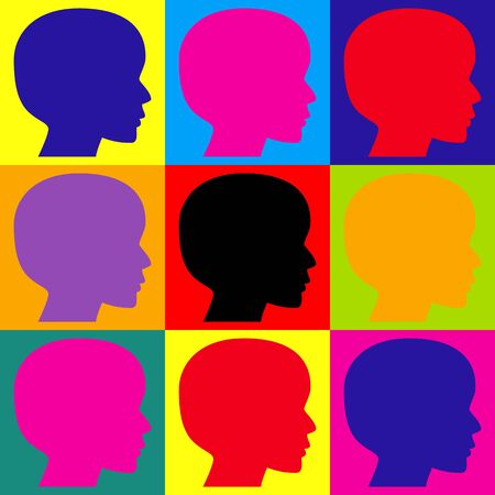 Human head sign. Pop-art style colorful icons set.