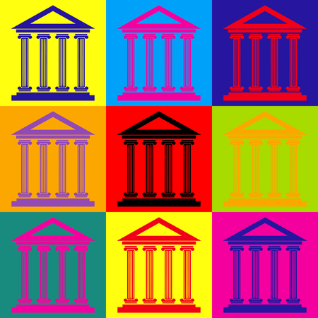 historical building: Historical building. Pop-art style colorful icons set. Illustration