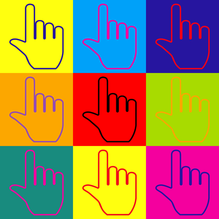 depress: Hand sign. Pop-art style colorful icons set.