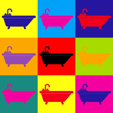 bathtub: Bathtub sign. Pop-art style colorful icons set.