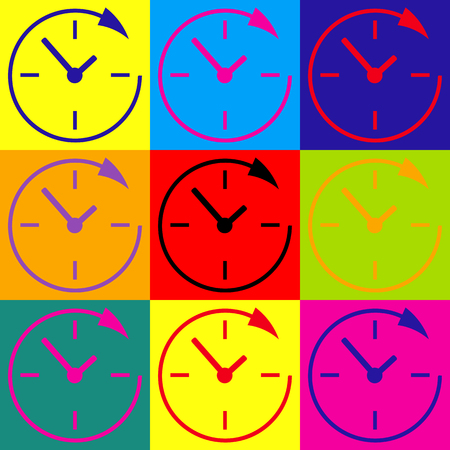 24 hours: Service and support for customers around the clock and 24 hours. Pop-art style colorful icons set. Illustration