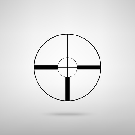 telescopic: Sight sign. Black with shadow on gray.
