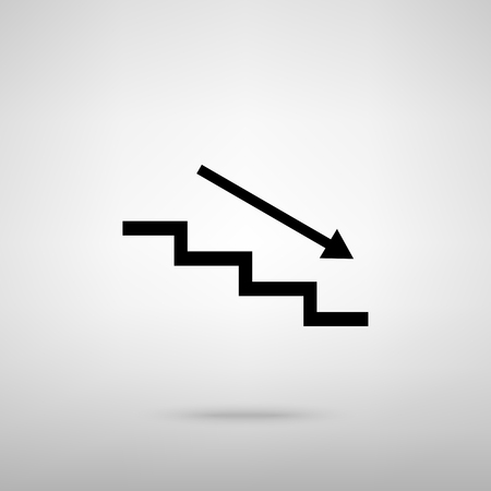 high way: Stair down with arrow. Black with shadow on gray.