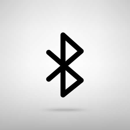 bluetooth: Bluetooth sign. Black with shadow on gray. Illustration