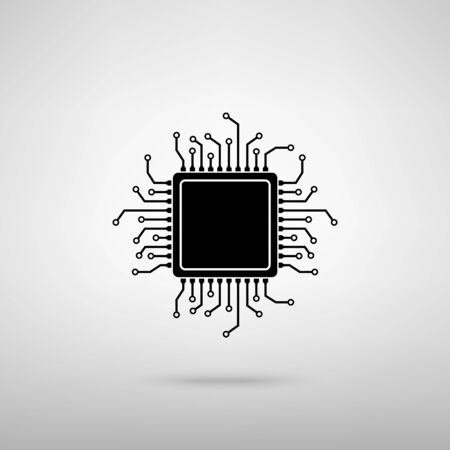 CPU Microprocessor. Black with shadow on gray.