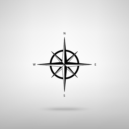 wind rose: Wind rose sign. Black with shadow on gray.