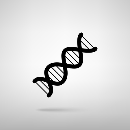 heredity: The DNA sign. Black with shadow on gray.