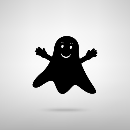 ghastly: Ghost isolated sign. Black with shadow on gray. Illustration