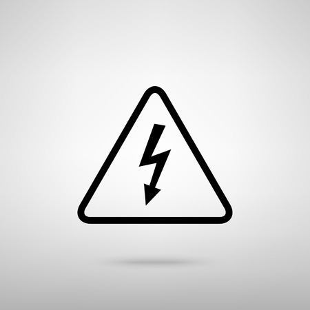 voltage gray: High voltage danger sign. Black with shadow on gray.