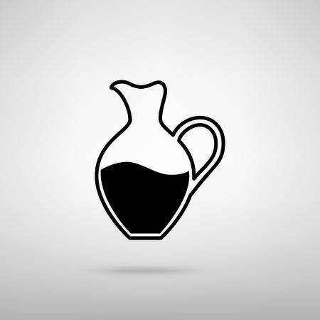 amphora: Amphora sign. Black with shadow on gray. Illustration