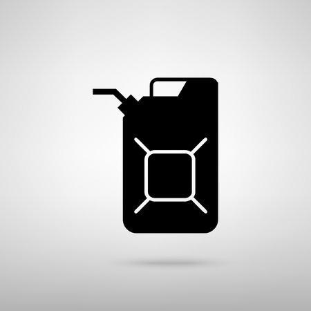 jerry: Jerrycan oil sign. Jerry can oil sign. Black with shadow on gray. Illustration