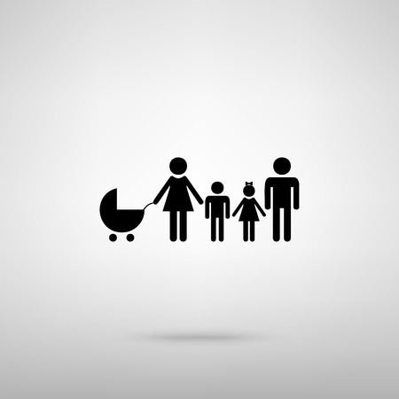 familiar: Family sign. Black with shadow on gray.