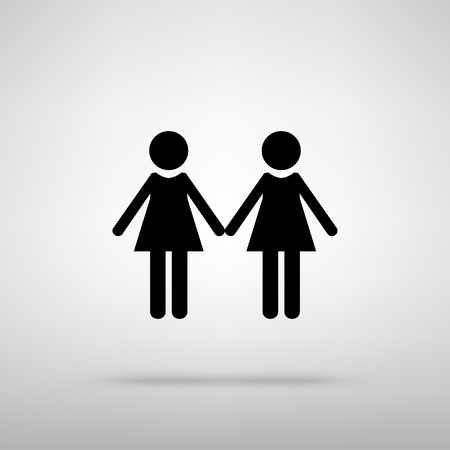 black family: Lesbian family sign. Black with shadow on gray.