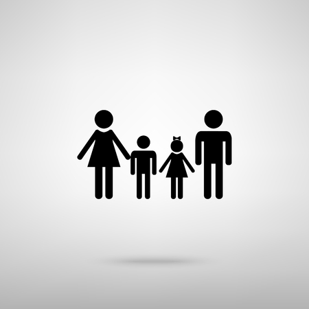 black family: Family sign. Black with shadow on gray.