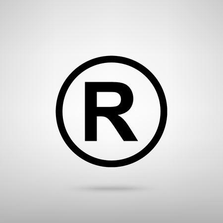dispensation: Registered Trademark sign. Black with shadow on gray.