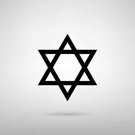 magen: Star. Shield Magen David. Symbol of Israel. Black with shadow on gray.