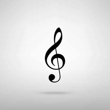 festival scales: Music violin clef sign. G-clef. Treble clef. Black with shadow on gray.