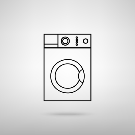 major household appliance: Washing machine sign. Black with shadow on gray. Illustration