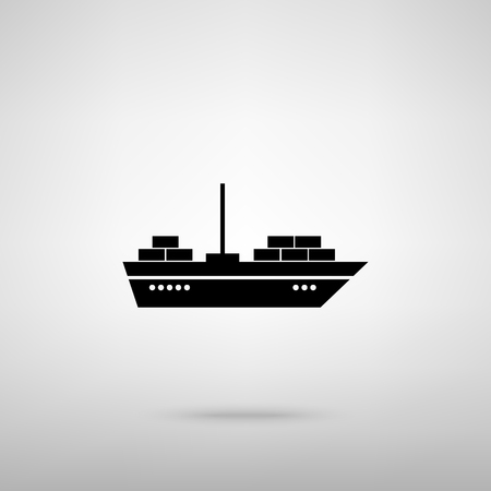 inflate boat: Ship sign. Black with shadow on gray. Illustration