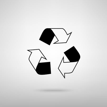 recycle logo: Recycle logo concept. Black with shadow on gray. Illustration