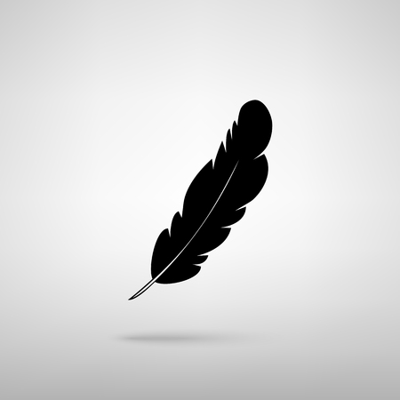 black feather: Feather sign. Black with shadow on gray.