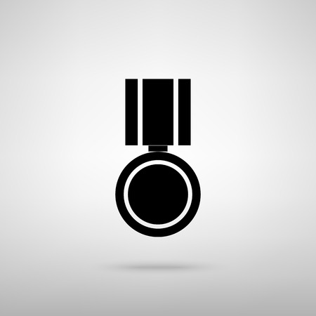 incentive: Medal sign. Black with shadow on gray.